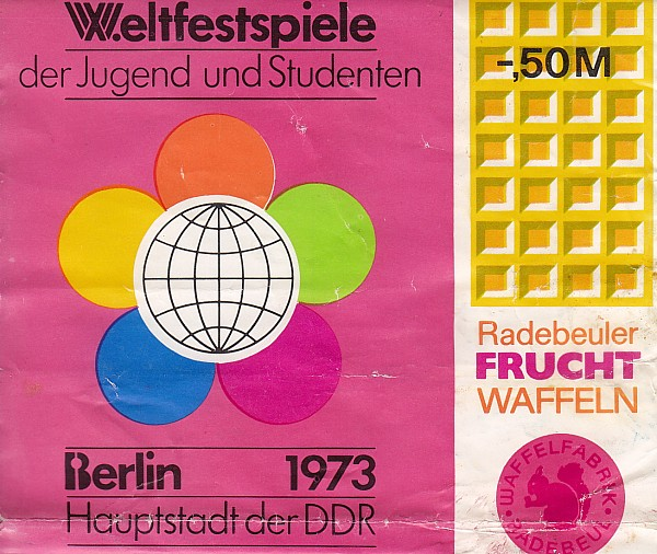 X. Weltfestspiele 1973 Waffeln ereignisgerecht verpackt
