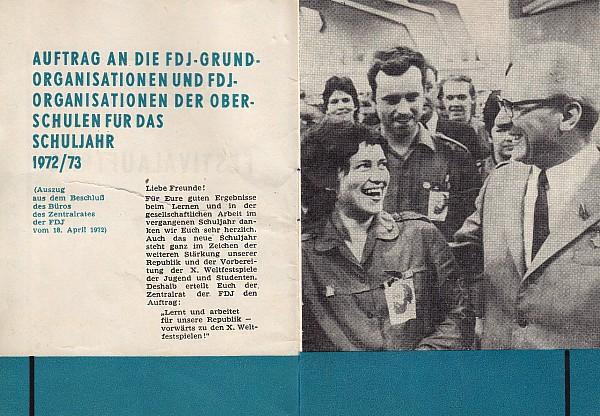 X. Weltfestspiele 1973 Verpflichtungsheft für FDJler (Innen)