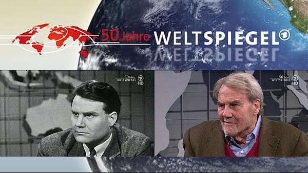 Erster Weltspiegel-Moderator Gerd Ruge 1963 und 50 Jahre später | Bildschirmfotos und Grafik: ARD; Collage: Jörg Wagner