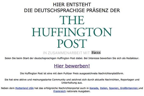 Die deutsche HuffPost vor dem Start am 10.10.2013