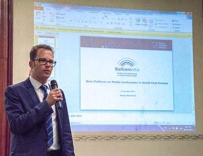 """Christian Spahr während der Präsentation der Plattform """"Balkanmedia"""" beim SEEMF 2014 in Skopje"""