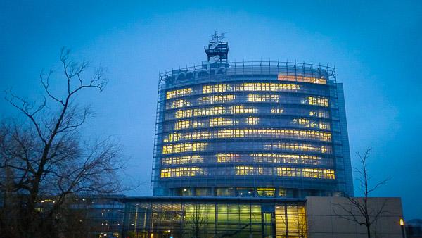 mdr-Hochhaus in Leipzig nach der Pressekonferenz