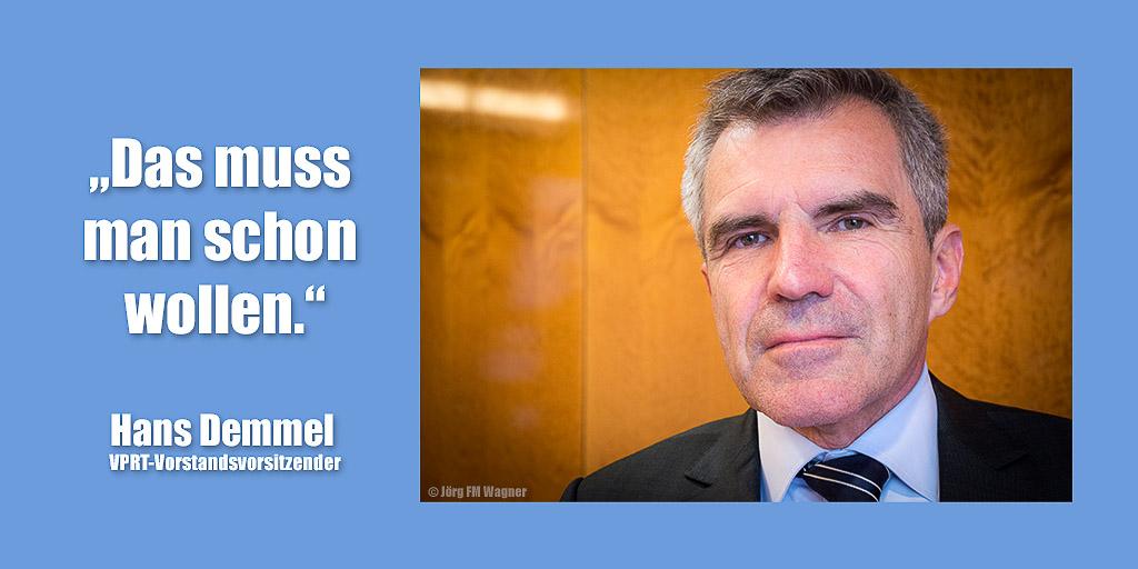 Hans Demmel am Tag zur Wahl des VPRT-Vorstandsvorsitzenden | Foto: © Jörg Wagner