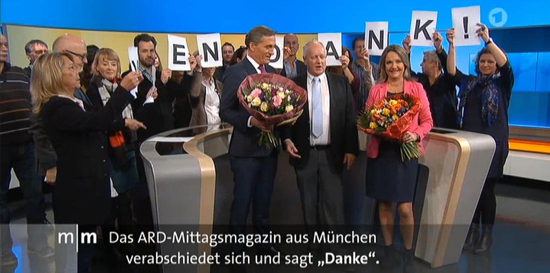 In den letzten Sekunden des ARD-Mittagsmagazins aus München bedankt sich das Team bei den Zuschauern für 28 Jahre Treue | Bildschirmfoto: 29.12.2017, 13:59 Uhr, Das Erste, ARD