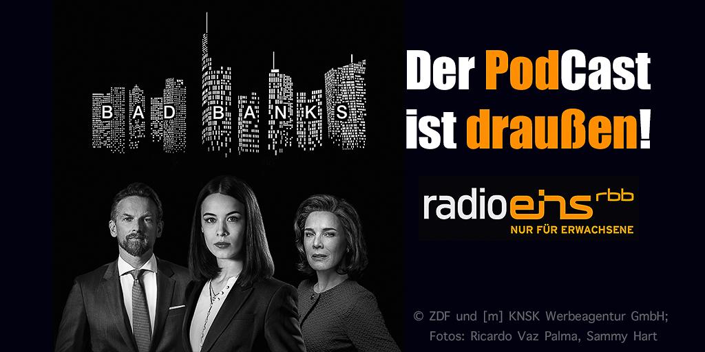 """Bad Banks"": Gabriel Fenger (Barry Atsma), Jana Liekam (Paula Beer), Christelle Leblanc (Désirée Nosbusch) | Collage: © ZDF und [m] KNSK Werbeagentur GmbH; Fotos: Ricardo Vaz Palma, Sammy Hart"