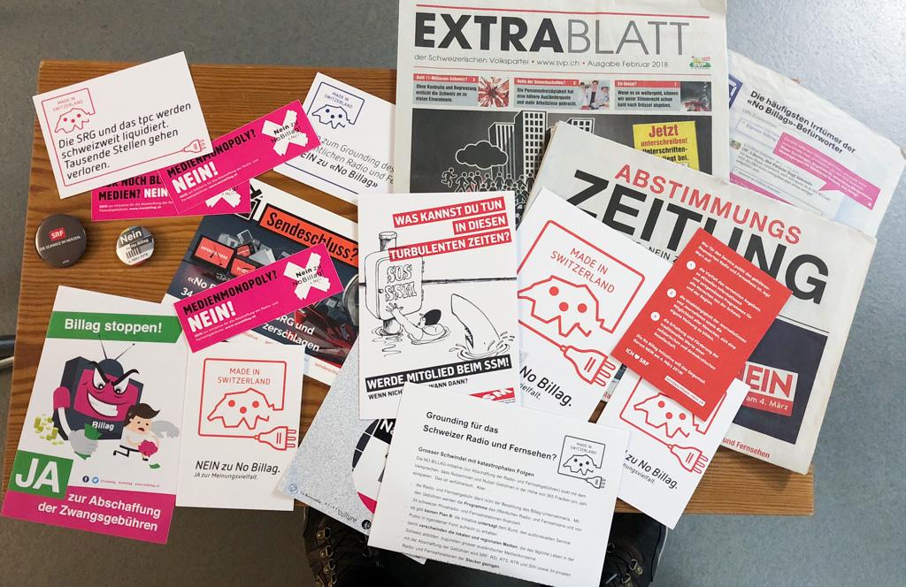 Werbematerial für No Billag und NoNo Blllag | Foto: © Jörg Wagner
